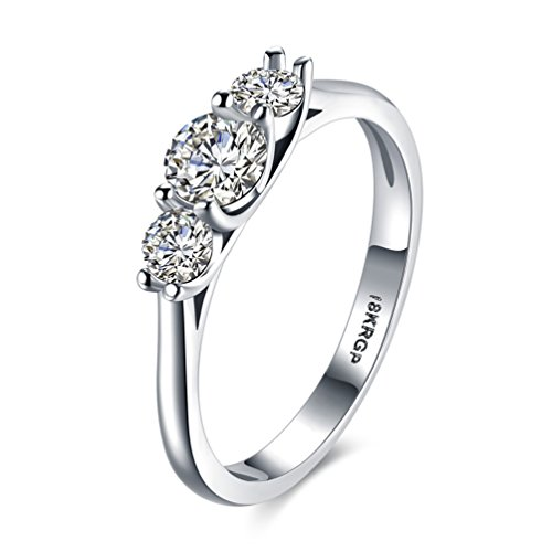 HMILYDYK Womens Platinum-Plated Sterling Silver 3 Stone CZ Round-Cut Swarovski Crystal Eternity Promise Ring Engagement Wedding - Link White 3 Ring