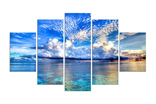 PulsatingFingertip-5 Panel Blue Landscape Art Oil Painting Seascape from Colourful Clouds Sunrise Canvas Prints for Living Room Decoration No ()