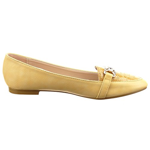 Sopily - damen Mode Schuhe Ballerina Knoten metallisch Strass - Camel