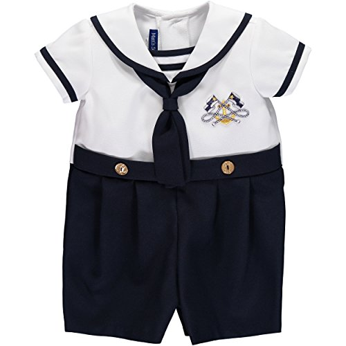 Bonnie Jean Baby Boys Nautical Sailor Outfit Coveralls Navy, White, 2T ()