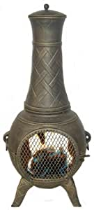 Deeco DM-6035J-IA Western Basket Weave Jr. Cast Iron Chiminea