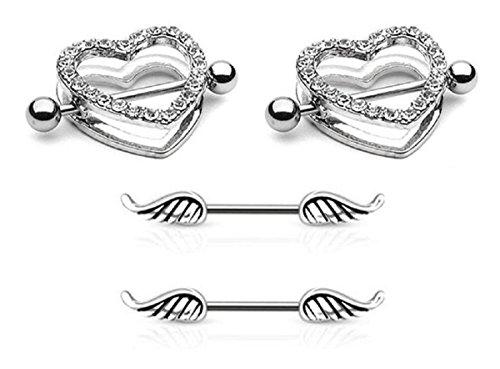 (2pcs) Clear heart Nipple Shield RingS & (2pcs) Angel Wing Nipple Rings by PIERCE ME