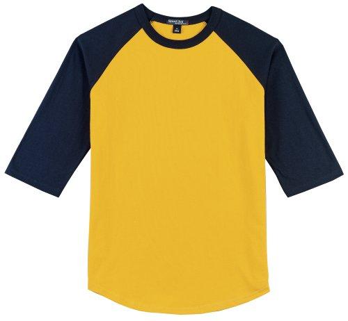 Sport-Tek raglan sleeve men's or youth baseball t-shirt, L, gold-navy blue