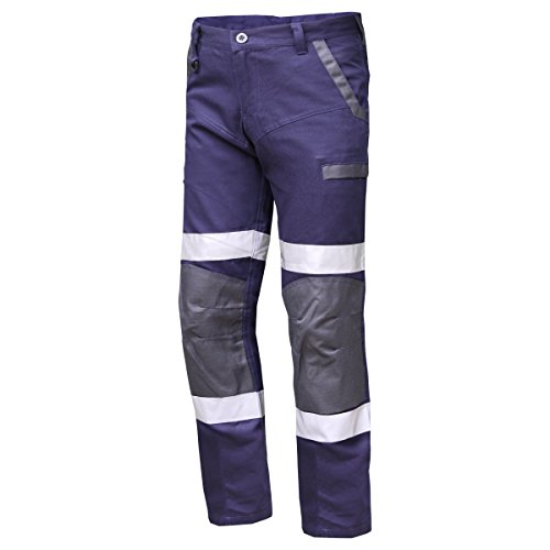 WORK CARGO PANTS TROUSERS,COTTON CANVAS,MULTI POCKETS,3M REFLECTIVE,HEAVY DUTY (87cm/34inch, Navy)