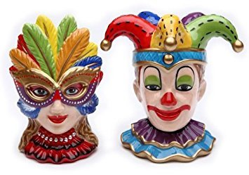 Clown and Girl Wearing a Mask Ceramic Salt and Pepper Shakers Set of 2