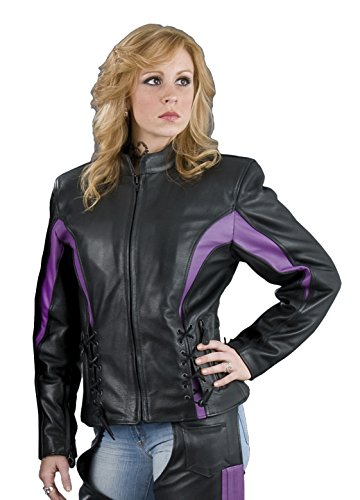 (Leather King Women's Scooter Jacket with Front Laces (Black/Purple, X-Large))