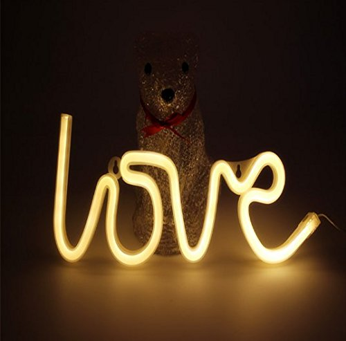 URTop 1Pcs Red/Pink/Warm White Led Neon Night Lights Love Lightning Heart Marquee Neon Light Sign USB / 3AA Battery Operated Wall Lamp Decor For Christmas Wedding Gift by URTop (Image #1)