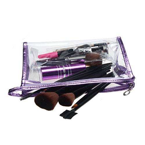 DZT1968(TM)Waterproof CLear Hand Pouch Bag With Zipper For Cosmetic Wash Versatile Storage (Purple)