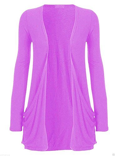 cardigan 26 NEUF DIVA longues 8 bout ouvert for UK manches Uni poches Lilas Dames haute fRqvTxOwv