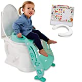 Potty Training Seat Unisex Kids &Toddler Toilet - Foldable Adjustable Ladder Anti-Slip Step w/Safety Handles - Fits Toilets 14-16.1' High. Bonuses: Soft Cushion Seat - Potty Training Chart