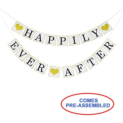 (Happily Ever After Banner Sign Gold Glitter Heart -Wedding Engagement Bridal Shower Party Decorations - Photo Props)