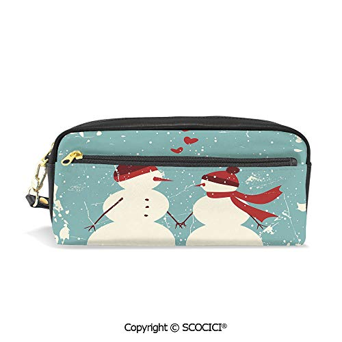 Printed Pencil Case Large Capacity Pen Bag Makeup Bag Snowman and Woman Romantic Couple in Love Holding Hands Grunge Display Decorative for School Office Work College Travel]()