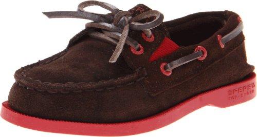 Sperry Top-Sider A/O Slip-On Boat Shoe (Toddler/Little Kid/Big Kid),Brown/Red,3.5 M US Big Kid