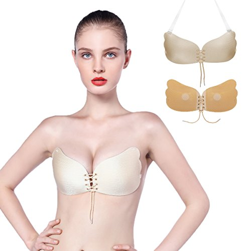 AiFox Adhesive Bra,Push Up Sticky Bra Padded Invisible Strapless Bras for Wedding Party (Beige, B)
