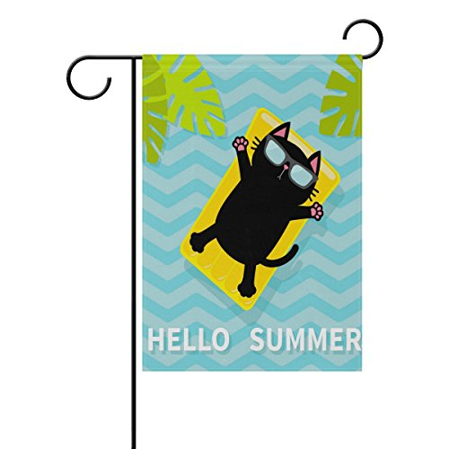Cooper girl Hello Summer Funny Cat Garden Flag Yard Banner Polyester for Home Flower Pot Outdoor Decor 12X18 Inch