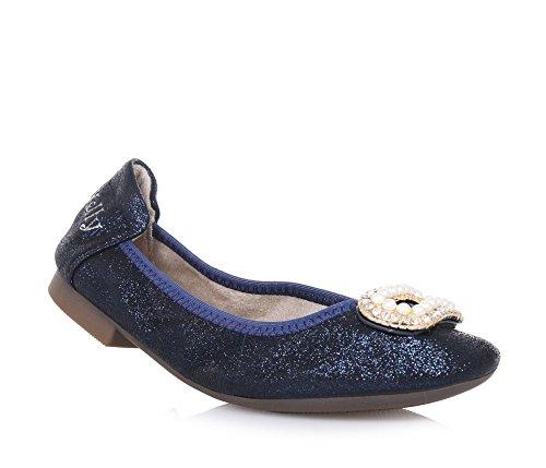 LELLI KELLY - Blaue Ballerina aus Stoff mit Glitzern, romantischer Stil, sehr elastisch und flexibel, Mädchen Blau