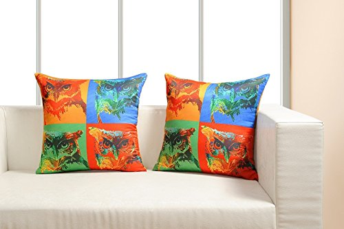 Digitally Printed Vibrant Color,Pop Art Dupion Cushion Cover 18 x18 Inch Set of 2 Satin Finish Faux Silk Dupion (Dupion Silk Cushion)