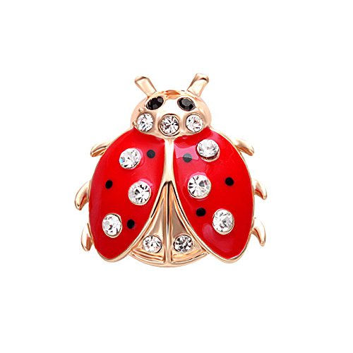 SENFAI Fashion 2 Colors Jewelry Insects Ladybug Crystal Brooches Bouquet Coccinella Septempunctata Lapel Pin (rose gold)