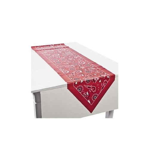 Red Bandanna Table Runner - Party Tableware & Table Covers (Western Party Decorations)