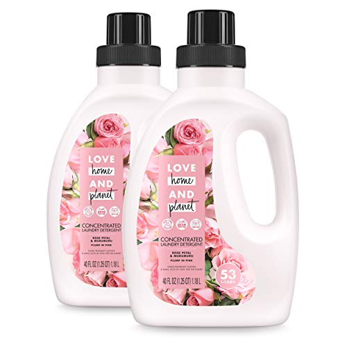 Love Home and Planet Concentrated Laundry Detergent Rose Petal & Mururmuru 40 oz, 2 Pack