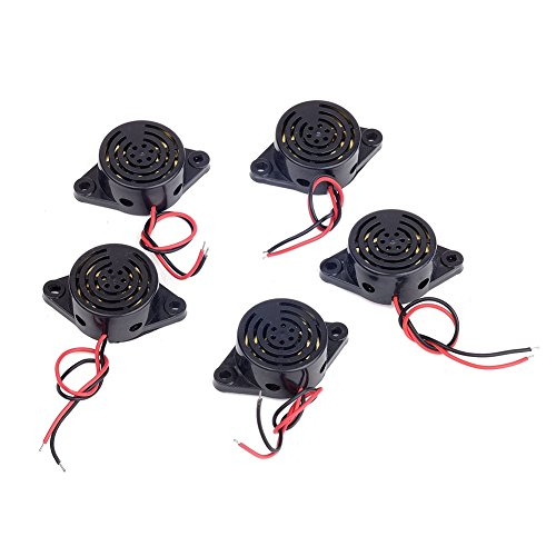 Cylewet 5Pcs SFM-27 DC 3-24V Electronic Buzzer Alarm Sounder Continuous Sound Beep (Pack of 5) CYT1083