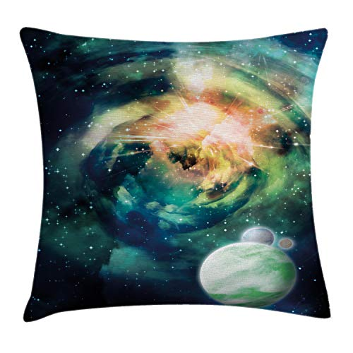 Ambesonne Space Throw Pillow Cushion Cover, Spiral Anromeda Galaxy with Planets Mystical Cosmos Fantasy Background Image, Decorative Square Accent Pillow Case, 40 X 40 Inches, Teal Blue Yellow
