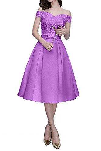 Spitze Marie Flieder Brautmutterkleider mit Braut Orange Schulterfrei Kurzarm Knielang Partykleider Abendkleider La wHx6InZOwq