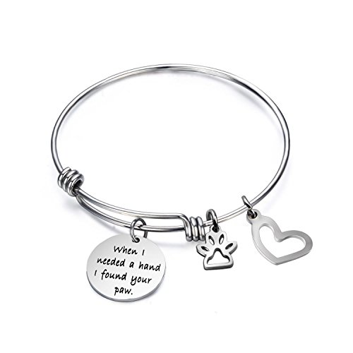 Ensianth When I Needed A Hand I Found Your Paw Bracelet Expandable Wire Bangle with Paw Print Charms Special Gift for dog lovers (Paw Print Bracelet)