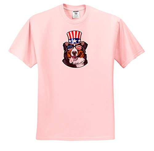 3dRose Patriotic American Dogs - Burmese Mountain Dog with American Flag Sunglasses and Top Hat - T-Shirts - Toddler Light-Pink-T-Shirt (4T) (ts_282711_49) ()