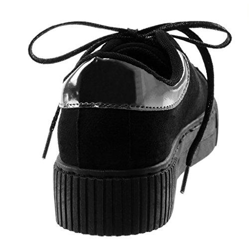 Moda cm Brillante Mujer Deportivos Plataforma Negro Chic Tennis Zapatillas 3 5 Angkorly Brillantes Plano Sporty Elástico Tacón Z5xWqznH