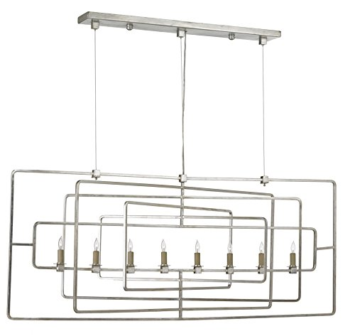 Currey and Company 9836 Metro - Eight Light Rectangular Chandelier, Silver Leaf Finish