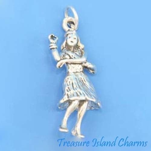 Charm - Sterling Silver - Jewelry - Pendant - Hawaiian Hula Dancer