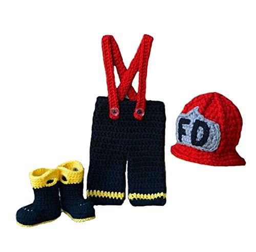 Queen Fire Costume (CX-Queen Baby Photography Prop Unisex Firefighter Red Hat Suspender)