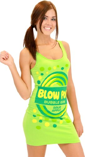 Blow Pop Bubble Gum Candy Sour Apple Green Costume Tank Dress (Juniors Medium)