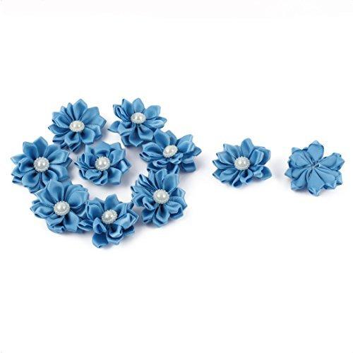 eDealMax sposa Perla imitazione Della decorazione DIY Appliques del Fiore del nastro 40 x 40mm 10pcs blu