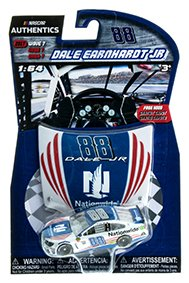 2017 Wave 7 Dale Earnhardt JR #88 Nationwide Salutes Red White Blue Special Paint Scheme 1/64 Scale Diecast Lionel NASCAR Authentics With Mini Replica Collector Hood (64th Red Scale)