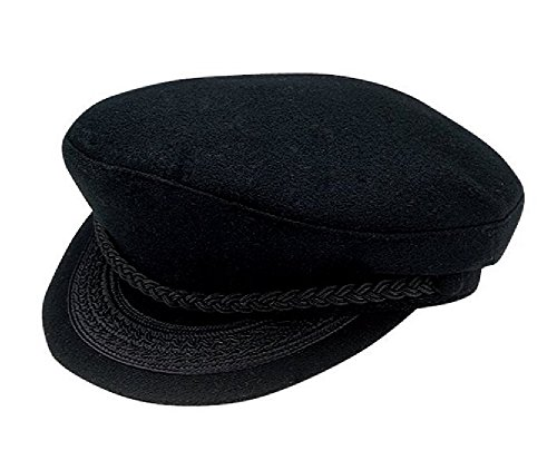 [Black Wool Greek Fisherman Cap Large] (Fisherman Costume)