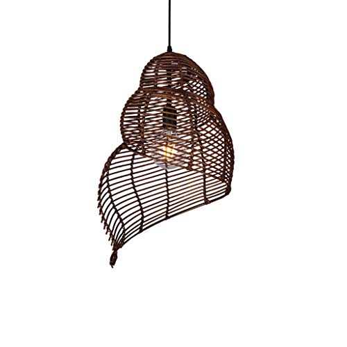 TZZ Bamboo Chandelier Retro Light Fixtures Wicker Light Fixtures Chandelier Dinging Room Ceiling Lamp Farmhouse Pendant Light Conch,Wicker Rattan Shades Weave Lamp (Color : Coffee, Size : 35cm) ()