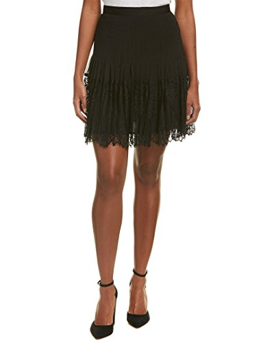 Rebecca Taylor Women's Silk & Lace Skirt, Black, 10 - Rebecca Taylor Silk Skirt