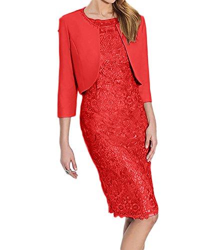 Spitze Hell Rot Etuikleider Partykleider Abendkleider Damen Grau Knielang mit Brautmutterkleider Charmant Langarm OAtxP