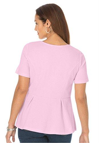 Jessica London Women's Plus Size Peplum Ribbed Top