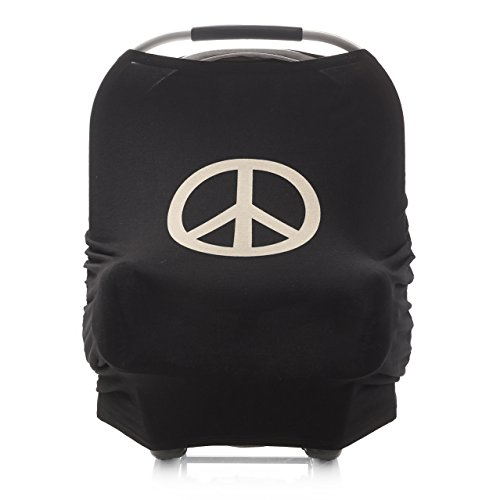 4-in-1 Infant Car Seat Cover Canopy for Baby Multi-Use Nursing Cover for Breastfeeding Mom - Peace Sign Print - Stretchy Shopping Cart Cover -Best Baby Shower Gift for Boys and - Offers For Up Sign Email Free