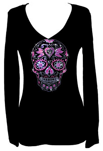 Rockeroo Boutique Sugar Skull Angel Wings Rhinestone Womens V Neck Long Sleeve Tee Shirt (2X) - Crystal Skull T-shirt