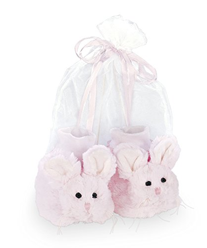 Bearington Baby Cottontail Plush Stuffed Animal Pink Bunny Rabbit Sock Top Slipper Booties -
