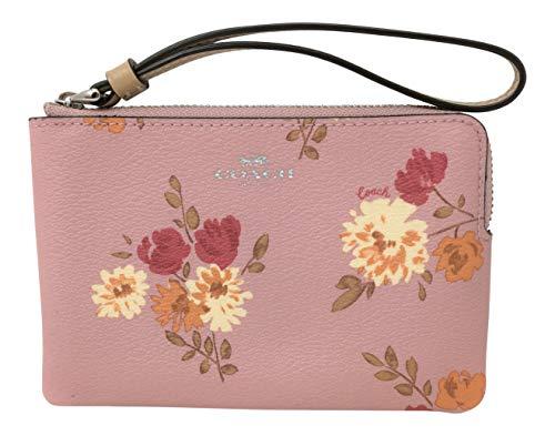 (Coach Corner Zip Wristlet Peony Pink Carnation Light Khaki Bag)