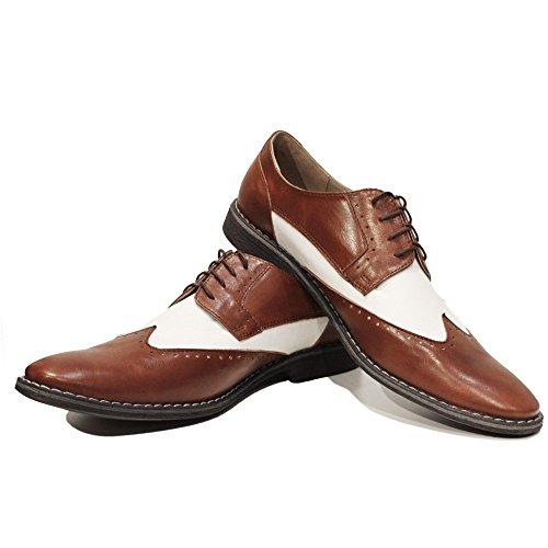 Modello Camone - Cuero Italiano Hecho A Mano Hombre Piel Marrón Wing Tip Zapatos Oxfords - Cuero Cuero suave - Encaje