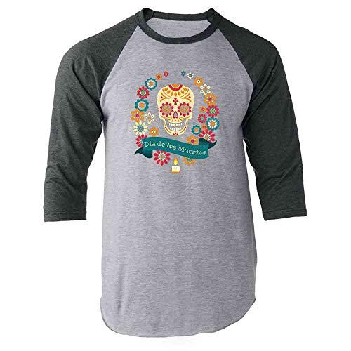 Dia De Los Muertos Shop (Dia de Los Muertos Sugar Skull Horror Costume Gray L Raglan Baseball Tee)