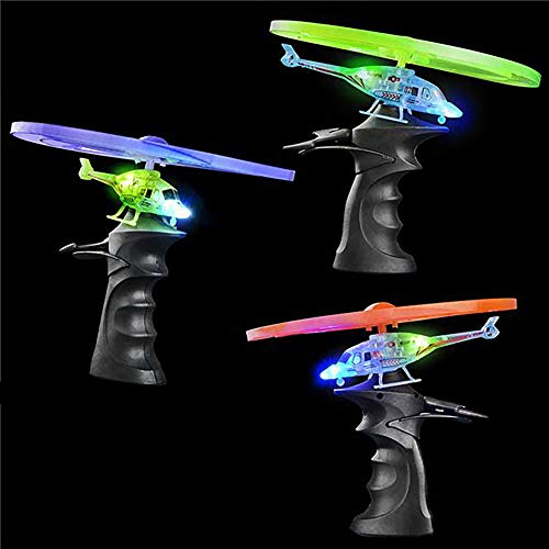 Kicko Flying Light Up Toy - LED Ripcord Helicopter for a Night Glow, Outdoor Fun, Playtime, Novelty, Rocket Flyers, Party Favor and Supply ()