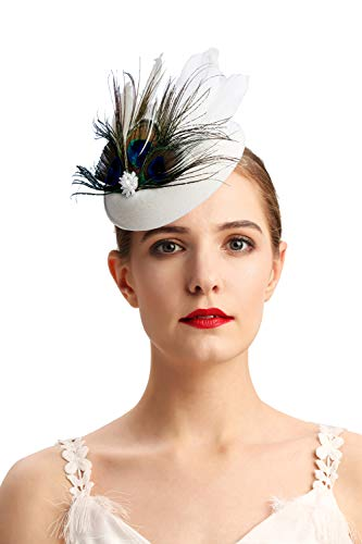 Cizoe Fascinator Hair Clip Pillbox Hat Bowler Feather Flower Veil Wedding Party Hat Tea Hat(5-beige) -