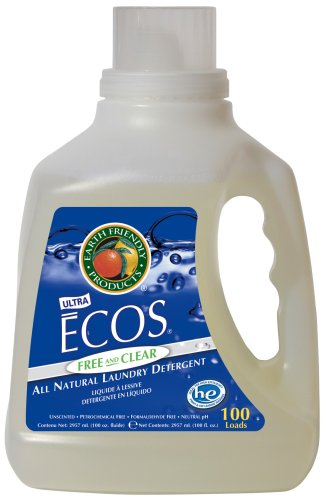 Earth Friendly Products Ecos 2x Liquid Laundry Detergent Free & Clear, 100-Ounce Bottle (Pack of 4) (Earth Friendly Products Ecos Laundry)